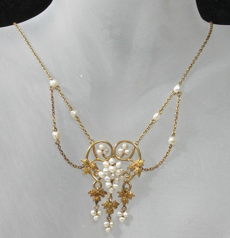 533 best pearl jewelry images on pinterest beaded jewelry pearls 14k art nouveau baroque seed pearl grape vine necklace from divine finds jewelry on ruby lane aloadofball Choice Image