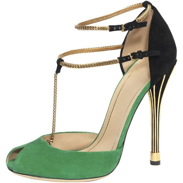 Gucci Ophelie Two-Tone Open-Toe Pump, Green/Black.