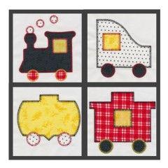 GO! Train Set #1 Embroidery Designs by V-Stitch Designs (VQ-TE01)