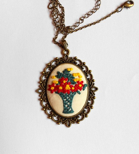 Yellow Red Green Flower Necklace Bridesmaid by RedWorkStitches