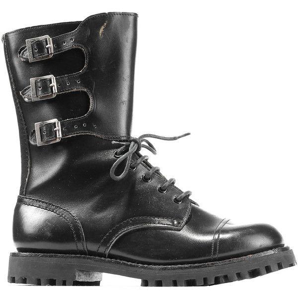 Vinatge Commando Combat Boots 80s Black Cap Toe Distressed Military... ($84) ❤ liked on Polyvore featuring men's fashion, men's shoes, mens platform shoes, 80s mens shoes, mens thick sole shoes, mens shoes and mens leather shoes