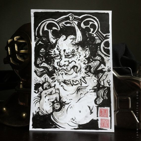 Rough raijin study by Janwillemtattoo on Etsy