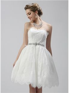 Zipper-up Beach  Summer Petite Lace Sleeveless Simple & Casual A-line Wedding Dress