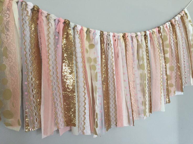 Blush Pink & Gold Sequin - Fabric Garland Banner - Cakesmash, Party decor, Window Valance , Wedding, Backdrop, Nursery Decor, fabric tassel by ohMYcharley on Etsy https://www.etsy.com/listing/222028714/blush-pink-gold-sequin-fabric-garland