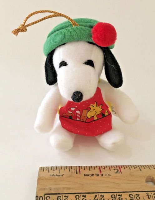 RARE Vintage 1966 Snoopy Plush Ornament with Workshop Elf Apron by Applause | eBay