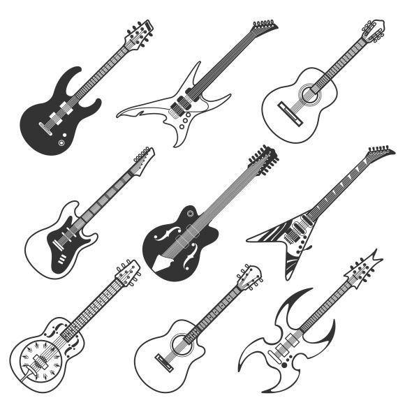 Black guitars vector silhouettes by @Graphicsauthor