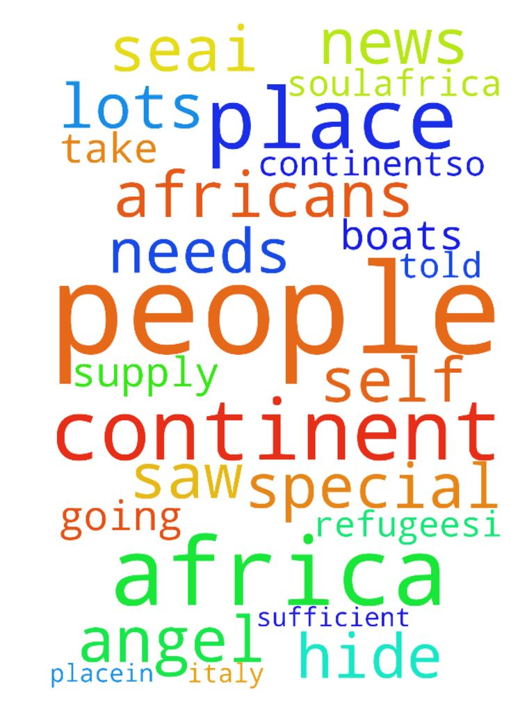 Africa -  Father I saw on the news lots of Africans going to Italy on boats as refugees.I ask you that you would bless that continent.That the people of Africa would not have to migrate.That you would supply all of the needs of the people of that continent and they would be self sufficient and place in them what they need.Place people in places that would help out the continent.So many people are drowning at sea.I pray you have mercy on their soul.Africa is not just any continent its where…