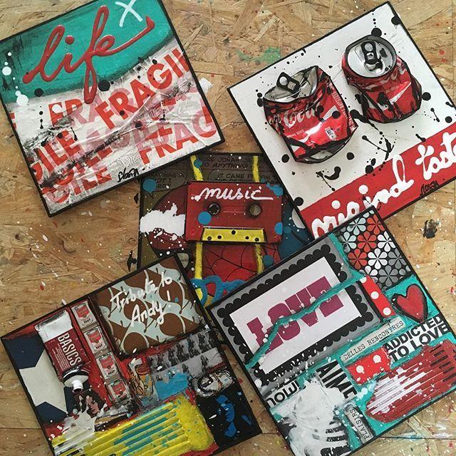 Des petits formats pour le Grand Salon International du Petit Format du 14 au 30 Mars à Toulouse ! #painting #collage  #upcycling #newpop #petitformat #sophiecosta