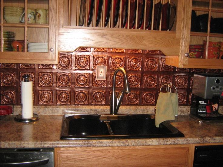 Pvc Ceiling Tile 128 Antique Copper 7 89 24x24 Used As Kitchen Backsplash Www Ceilingtiyus