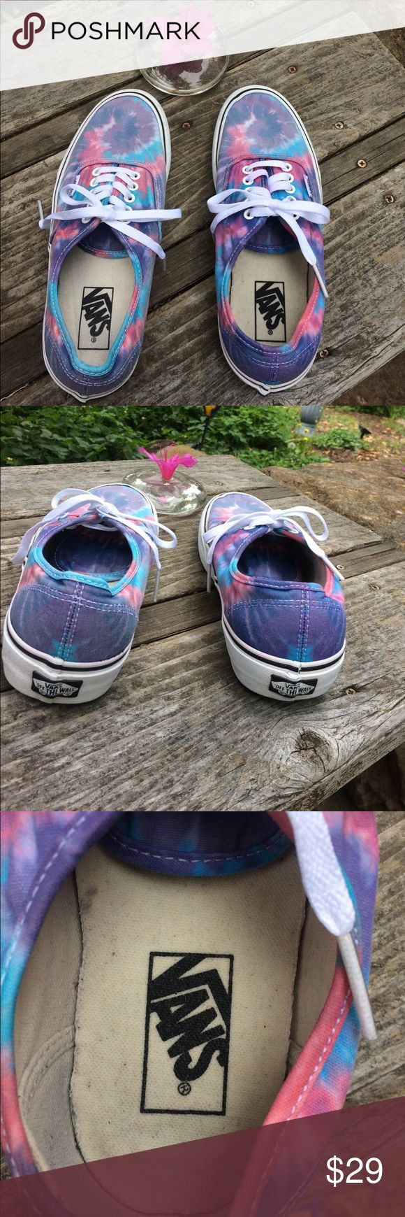"""VANS Uni-Sex Tie Dye Sneakers M7/Wmn. 8.5 WOW Gotta get these cool VANS! In pretty tie-dyed & faded hues of Purple, Pink, Turquoise & White. Uni-Sex. Men's Size 7, Women's Size 8.5. Perfect for Concerts, Skateboarding, Wearing to School, Everyday Wear, etc. Pre-owned & in good condition. They'll be your favorite """"go-to"""" shoes when you are in a fun mood. Bundle additional items from my closet to save . Thank you for shopping here. I my Posher Pals! P.S. - I ship fast! Debbie Vans Shoes…"""