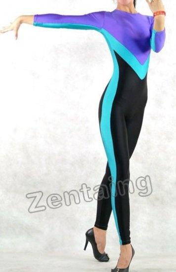Black Blue And Purple Lycra Spandex Catsuit Zentai