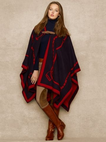 RL Bridle-Print Wool-Blend Cape: