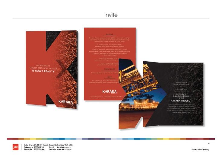 "Karara Mine Invite Artwork, Die-cut with the Karara ""K"""