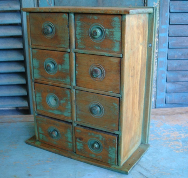 Junk From My Trunk   Antique Primitive Old Painted Wood Spice Chest Cabinet  Drawers $72.00 #