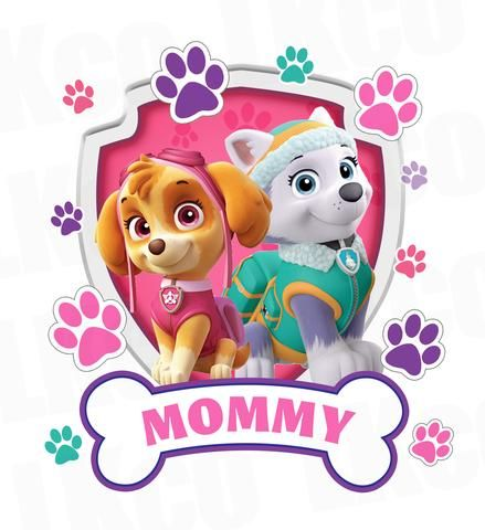 Paw Patrol Iron On Transfer - Girl's Paw Prints - Skye & Everest | Mommy