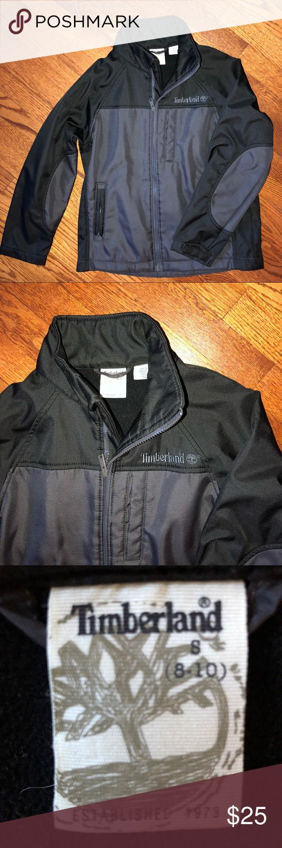Timberland coat...Size S (8-10) Beautiful, thick, grey and black Timberland coat...Size S (8-10)...no rips or stains...fleece lined for extra warmth...from a smoke free home! Timberland Jackets & Coats