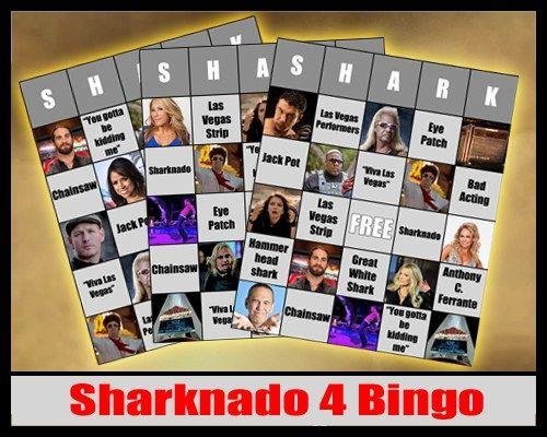 """Sharknado 4 """"SHARK"""" Bingo Cards - Sharknado The 4th Awakens Premiere Party Pack"""