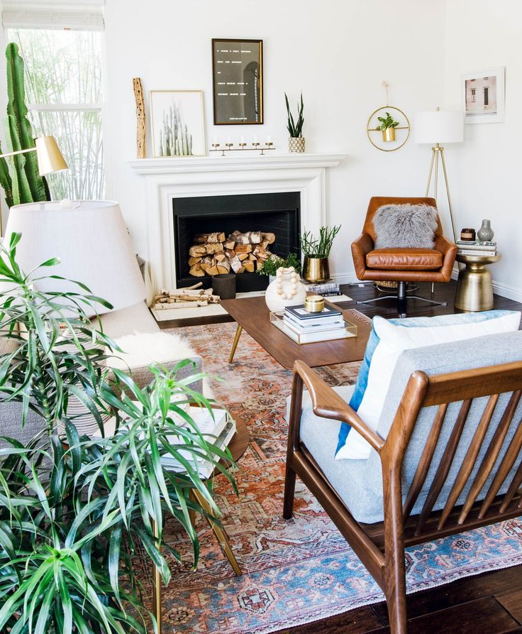 Designer Living Room For Less Gorgeous Mid Century Modern Furniture Boho Accessories And A Vintage Style Rug This Eclectic Family