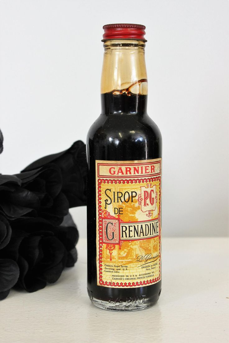 Vintage Garnier France Enghien Grenadine Bottle / Sirop de Grenadine Liquer Liquor Collectible Midcentury / 2.5 Pint Jar Glass Bottle
