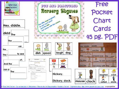 Nursery Rhyme Pocket Chart Cards (free)Printables Nurseries, Rhymes Awesome, Fractured Nurseries, Nursery Rhymes, Learning, Nurseries Rhymes, Reading Center, Education, Fun Nurseries