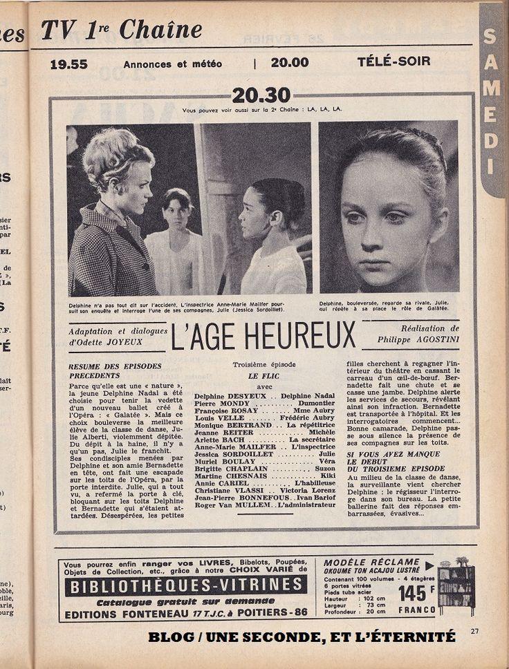 """Une page du magazine de télévision """"Télé 7 Jours"""" annonce le feuilleton poétique et captivant que j'aime suivre le samedi soir quand je suis chez mes grands-parents..."""