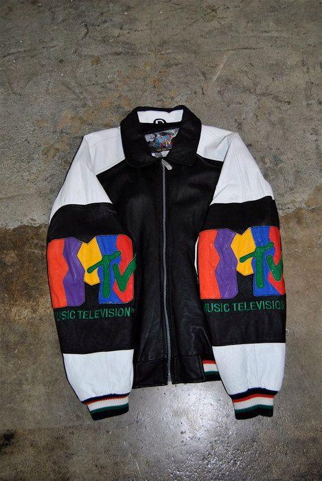 men's vintage, 1990's MTV Music Television leather bomber jacket, white and black, medium