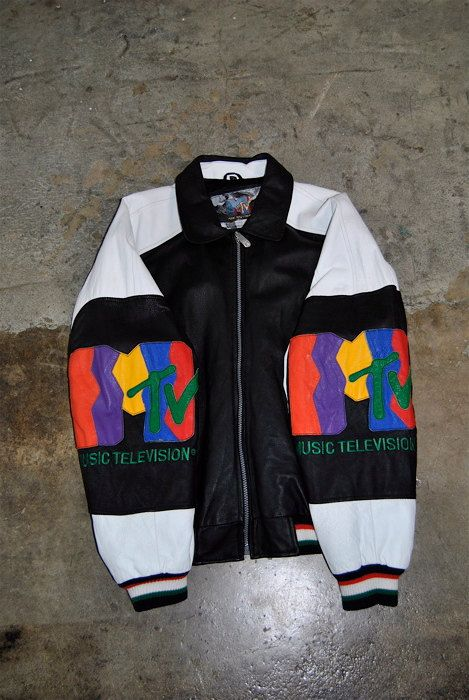 men's vintage, 1990's MTV Music Television leather bomber jacket, white and black, medium