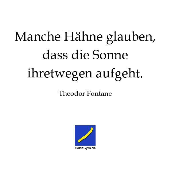 Motivierende Zitate - Theodor Fontane - Manche Hähne glauben, dass die Sonne ihretwegen aufgeht