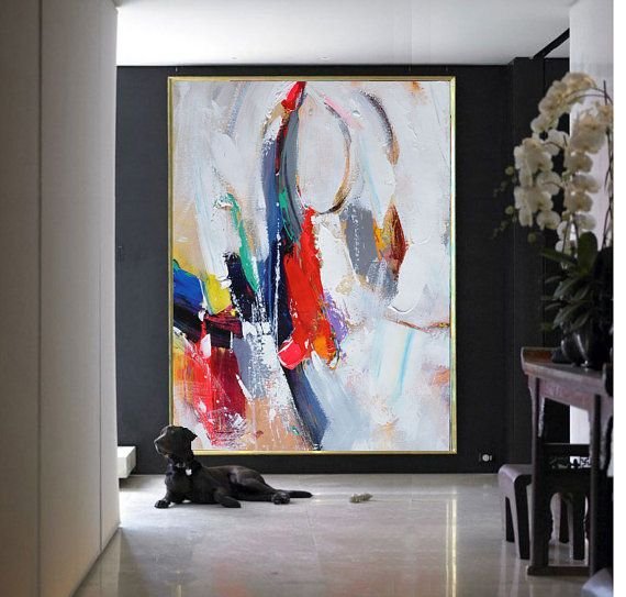 Handmade Extra Large Contemporary Painting, Huge Abstract Canvas Art, Original Artwork by Leo. Hand paint. Grey, blue, orange, green, red.
