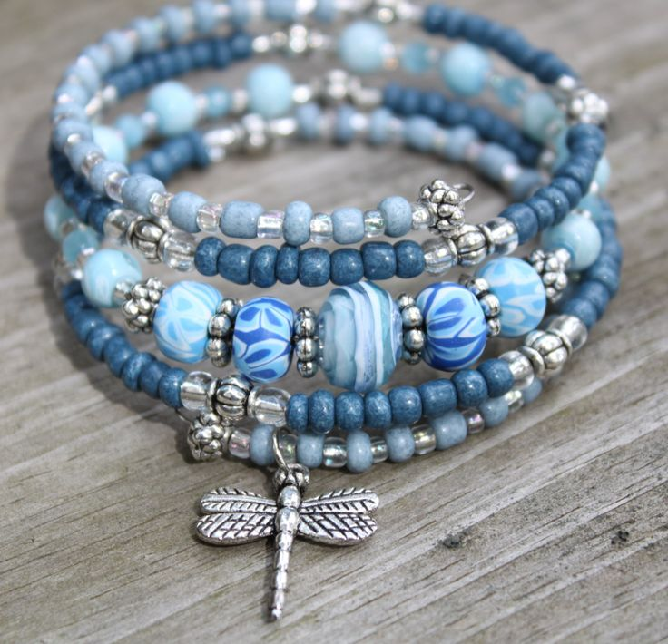 """Blue """"Denim"""" Memory Wire Bracelet with Dragonfly Charm, Dragonfly Bracelet, Charm Bracelet by CathyCJewelryDesign on Etsy"""