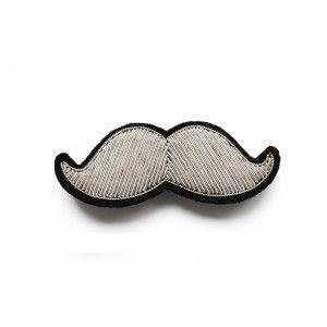 Broche moustache brodée petit modèle - Fil argenté