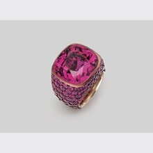 Deep pink tourmaline ring crafted in copper with pink sapphires  Hemmerle