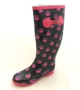 Womens Ladies Unbranded Wide Animal Paw Print Riding Wellies Wellingtons FAB260 | eBay