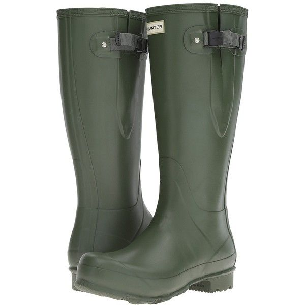 Hunter Norris Field Adjustable (Vintage Green) Men's Rain Boots ($165) ❤ liked on Polyvore featuring men's fashion, men's shoes, men's boots, mens waterproof boots, hunter mens boots, mens water proof boots, mens boots and mens rubber shoes