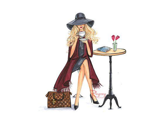 Lady Latte (Fashion Illustration Print – Fashion Sketch prints – Home Decor – Wall Decor – Fashionistas)