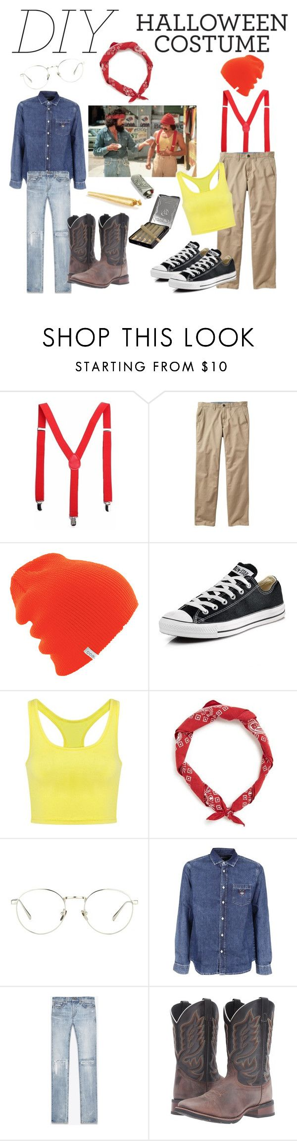 """Cheech and Chong DIY"" by angelarmoyer ❤ liked on Polyvore featuring Gap, 7 For All Mankind, Coal, Converse, Linda Farrow, Kenzo, Yves Saint Laurent, Laredo, men's fashion and menswear"