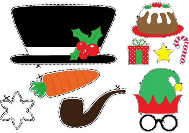 Snowman, Elf and Christmas Things: Free Printable Photo Booth Props.