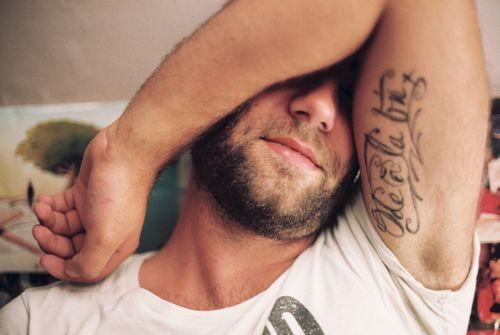 Bicep Tattoo for Men - Script Tattoo Design Ideas, inner bicep tattoo