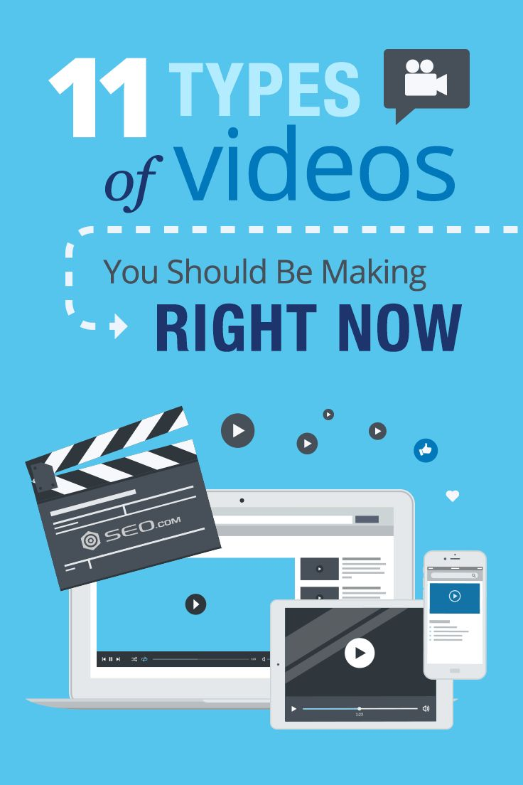 Video marketing continues to grow as a powerful tool for attracting new customers and building a community. Here's a list of 11 types of videos you need to consider…  video marketing marketing strategy smm seo sem periscope twitter video facebook live meerkat snapchat video instagram video instagram stories explainer video video infographic video sales letter vsl tutorial video  instructional video product video webinar