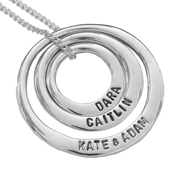 Uberkate 3 circle necklace (sml, med, large) with each of the kids names on front and birthdates on back