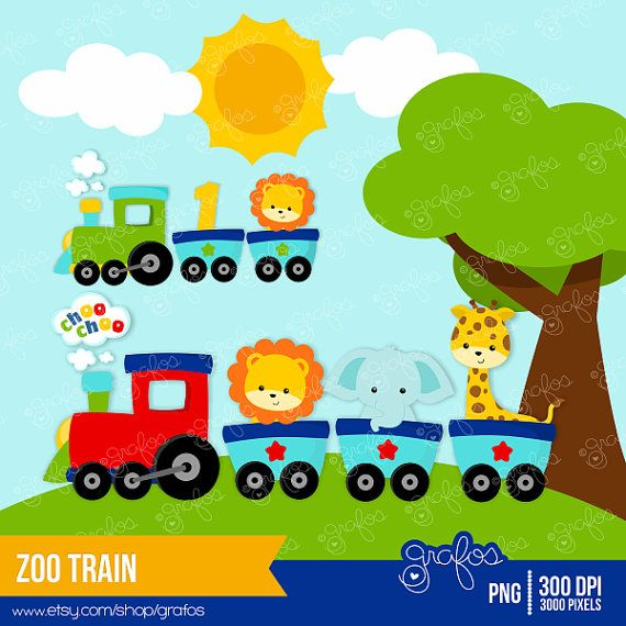 ZOO TRAIN clipart set : 28 Graphics & 1 Background    •PNG with Transparent Background Images are high quality 300 DPI ::::::::INSTANT DOWNLOAD::::::::