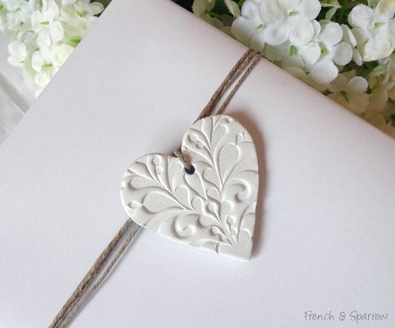 20 Embossed Petite Heart Clay Tags - Weddings, Bonbonnieres, Gifts, Wedding Favors