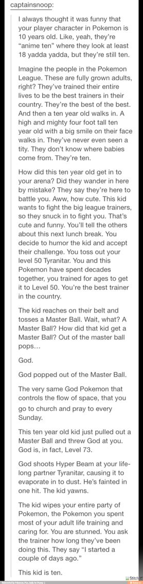 Pokemon // funny, but pretty sure if the kid is a girl, they've seen a titty - their own. Just saying.
