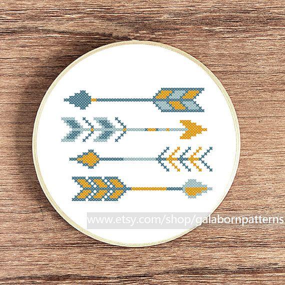Scandinavian Summer arrows - Counted cross stitch pattern PDF - Tribal