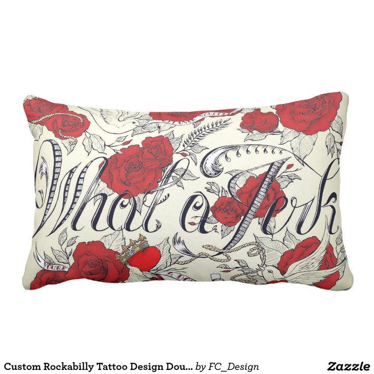 Custom Rockabilly Tattoo Design Double Sided Pillow
