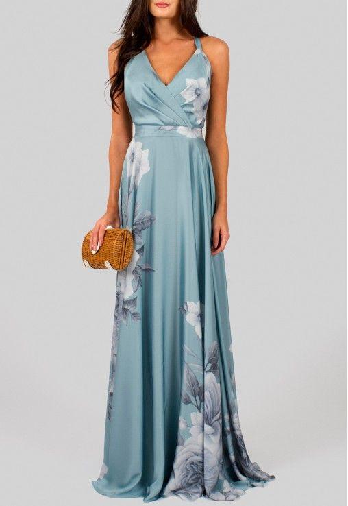 Vestido longo de seda azul estampado floral Powerlook - powerlook-V-MOB