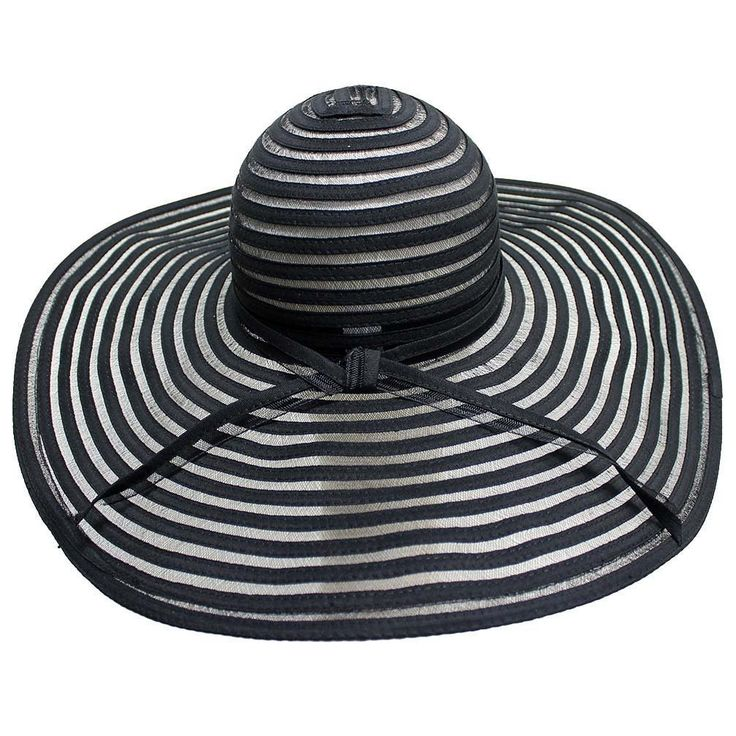 Luxury Divas Black Sheer Striped Wide Brim Floppy Sun Hat