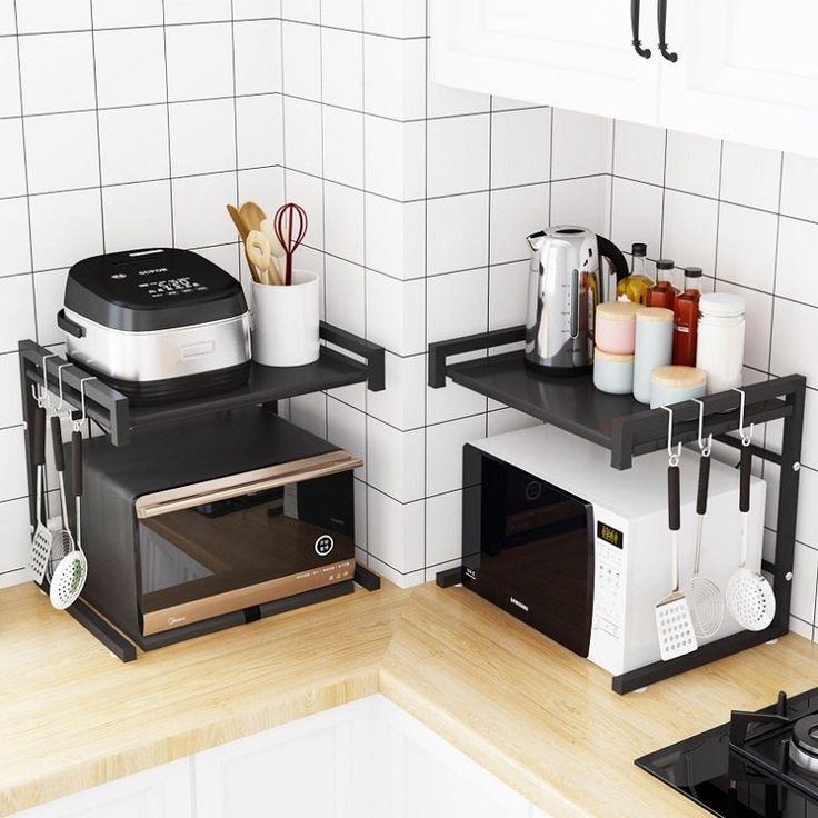 new 43 65cm adjustable microwave oven storage rack kitchen organizer kitchen storage holder on kitchen organization microwave id=32192