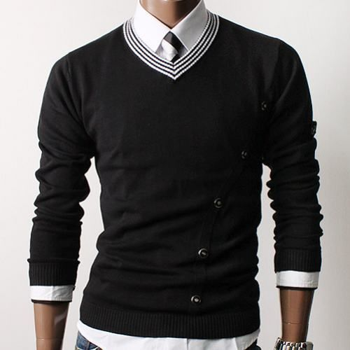Love the detailing on this sweater. #layer black and white #buttons #men #style