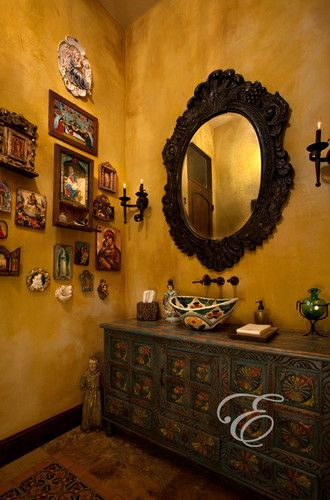 Hacienda: Mission Casual - mediterranean - powder room - houston - Eklektik Interiors